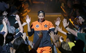 Los Angeles Sparks' Candace Parker being greeted by fans as she is introduced before the WNBA All-Star basketball game.