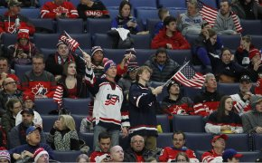 USA fans celebrating in the stands at a World Junior game.