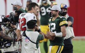Tom Brady, Aaron Rodgers, shake hands, Week 6 2020