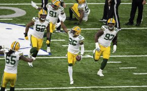 Darnell Savage of the Green Bay Packers celebrating a turnover during a game.