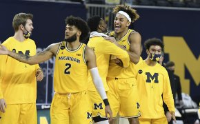 Michigan Wolverines celebrating a victory