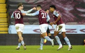 Aston Villa players celebrate goal