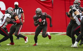 Tampa Bay Buccaneers running back Ronald Jones carrying the ball during an NFL game.
