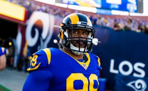 Los Angeles Rams defensive tackle Aaron Donald walking onto the field