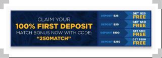 BetRivers promo code for $250 deposit match bonus