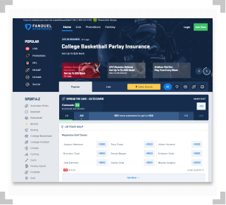 Screenshot of FanDuel Sportsbook homepage