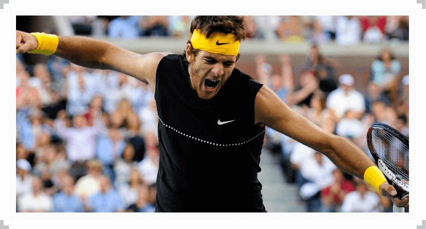 Juan Martin del Potro reacts to winning the 2009 US Open
