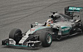 Lewis Hamilton in his Mercedes