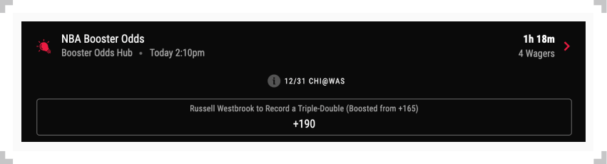 Screenshot of boosted odds example from PointsBet sportsbook