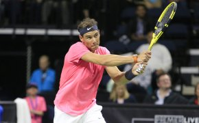 Rafael Nadal hitting a backhand. Can he win on Tuesday at the Nitto ATP Finals?