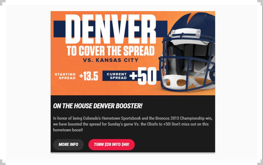 Screenshot of Denver promotion on PointsBet Colorado website