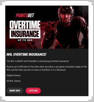 Screenshot of PointsBet NHL overtime insurance promotion