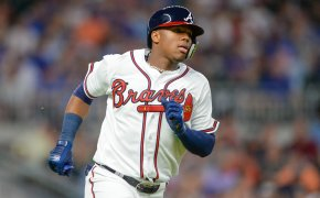 Braves outfielder Ronald Acuna rounding the bases