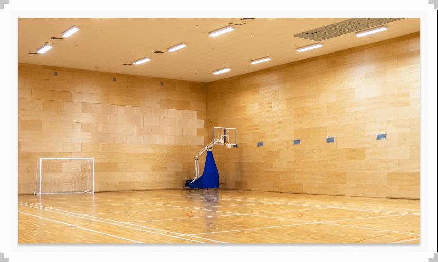 Basketball net in an empty gym