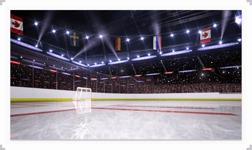 Hockey net on the ice in a rink