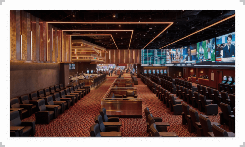 Chairs and tables in a retail sportsbook location