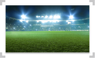 Soccer field with bright lights shining