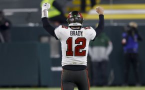 Tampa Bay Buccaneers quarterback Tom Brady celebrating