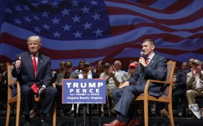 Donald Trump, Michael Flynn on stage