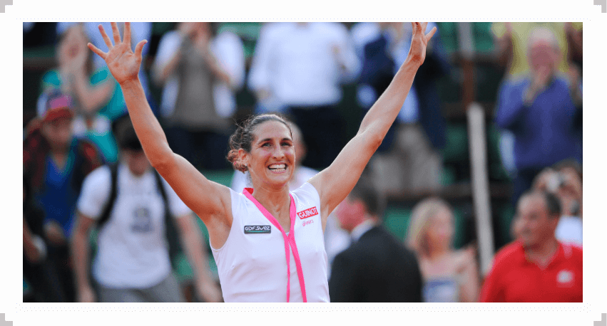 Virginie Razzano reacts to her victory over Serena Williams