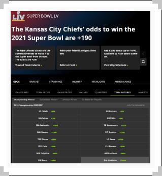 DraftKings futures betting odds screenshot