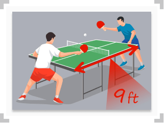 Table tennis players with arrow indicating 9 foot table length