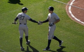 Giancarlo Stanton and Aaron Judge Judge celebrating a home