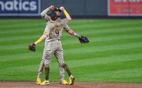 San Diego Padres shortstop Fernando Tatis Jr. celebrates with shortstop Jake Cronenworth