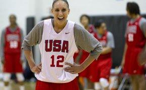 Diana Taurasi laughing at a Team USA practice