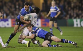 Bath's Olly Woodburn tackling Montpellier's Fulgence Ouedraogo