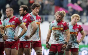 Harlequins' players on the pitch