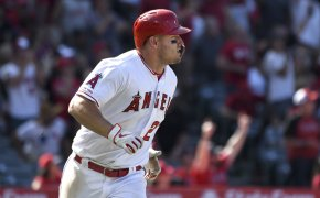 Los Angeles Angels' Mike Trout watches a home run