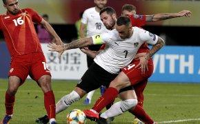 Marko Arnautovic battles with North Macedonia defenders