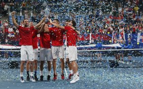 Serbia holding up the ATP CUP after defeating Spain during the ATP Cup tournament in Sydney, Australia in 2020.
