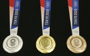Examples of the medals handed out at the Tokyo Olympics
