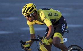 Egan Bernal wearing the Yellow Jersey at the 2019 Tour de France