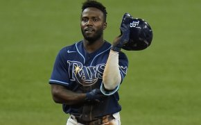 Tampa Bay Rays' Randy Arozarena on base