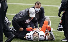 Cleveland Browns' Odell Beckham Jr lying on the field injured