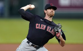 Shane Bieber delivers a pitch
