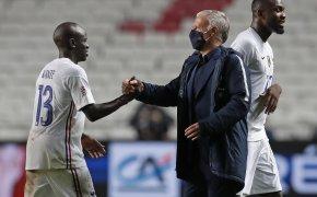 France head coach Didier Deschamps greeting N'Golo Kante after a soccer match.