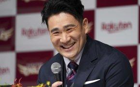 Masahiro Tanaka at a press conference