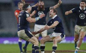 Scotland's Hamish Watson and Scott Steele celebrating after beating England