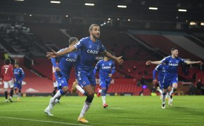 Everton's Dominic Calvert-Lewin, centre, celebrating after scoring a goal.
