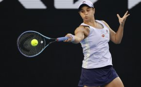 Ashleigh Barty making a forehand return during a match at the Australian Open.