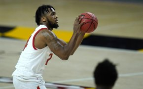 Maryland forward Donta Scott shooting a shot in a NCAA men's basketball game.