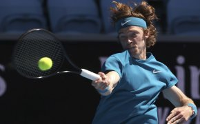 Andrey Rublev hits forehand shot