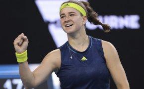Karolina Muchova celebrating a win with a firstbump at the 2021 Australian Open.
