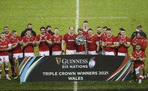 The Wales team celebrate after defeating England in the 2021 Six Nations Tournament