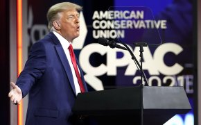 Former President Donald Trump speaks at CPAC in Feb. 2021.