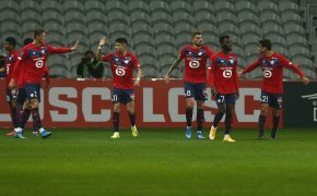 Lille players celebrate